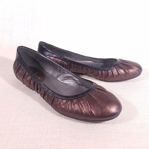 Cole Haan Brown Black Patent Pleated Ballet Flats